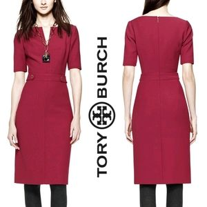 Tory Burch Red Lydia Wool Sheath Dress Size 0